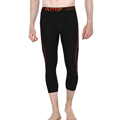 OUTOF Herren Kompressions-3/4 Capri-Shorts Baselayer Cool Dry Sport Tights Running Yoga Pants MPC5217, Herren, MPC5217R-BKO, Small -