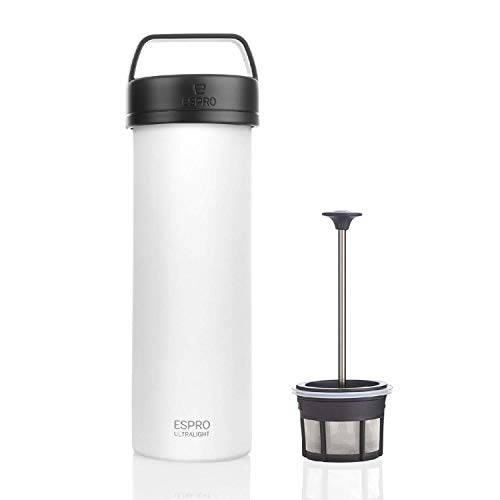 ESPRO 17680 Reise-French Press Ultralight, Mini Coffee Maker mit Thermo-Funktion, Kaffee weiß