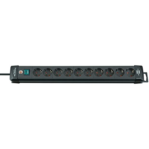Preisvergleich Produktbild 10-fach-Steckdosenleiste mit 3,00-m-Kabel H05VV-F 3G1,5 16A, 2-poliger Schalter, schwarz. 10-fach 3,00-m-Kabel H05VV-F 3G1,5 Innovatives Befestigungssystem 2-poliger Schalter Kindersicherung