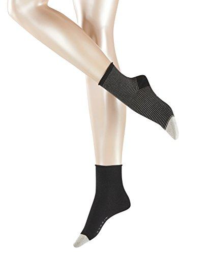 ESPRIT Damen Socken Shiny Nice Stripe Blickdicht, 2er Pack, Schwarz (Black 3000) 39 (Herstellergröße: 39-42)