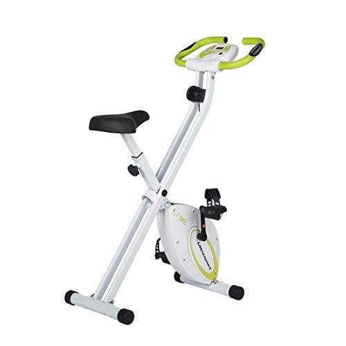 Ultrasport F-Bike, Fahrradtrainer, Heimtrainer, faltbares Fitnessfahrrad mit Trainingscomputer und Handpulssensoren, klappbar, belastbar bis 100 kg, Grün