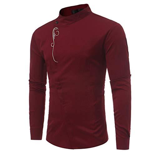 Ujunaor camicie uomo maniche lunghemaglietta da uomo maglietta da donna a maniche lunghe con scollo a v e maniche lunghe color autunno(medium,vino rosso)