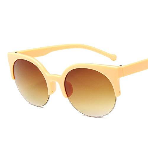 QG Ypdes Fashion Retro Designer super runde Kreis Brille cat Eye Frauen Sonnenbrille uv400 Brille, gelb