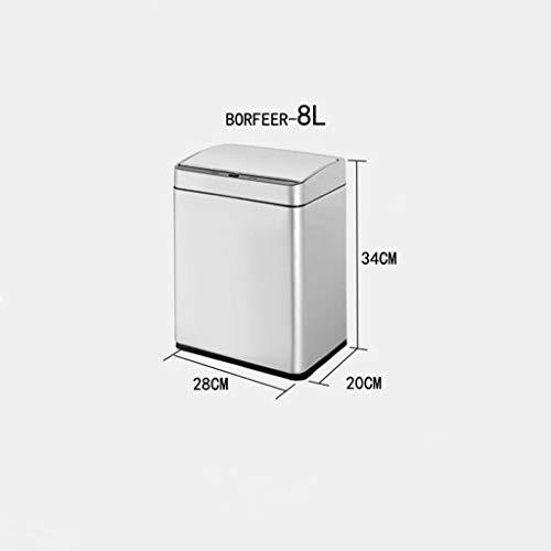 Recycling-kunststoff-square (BXX Intelligent Induction Automatic Mülleimer Wohnzimmer Küche mit Deckel Recycling Box Large Square Large Capacity Wasserdicht Leicht zu reinigen,Silber,8L)