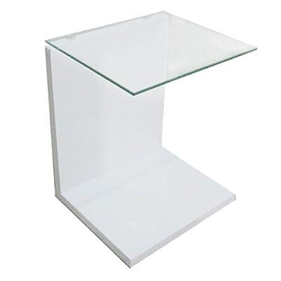 Design Beistelltisch Couchtisch Glastisch Nachttisch Glas MDF weiß BHP B154116-3