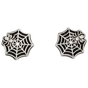 Silver Spider Web Studs/Free Gift Box. S12