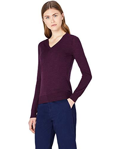 MERAKI Merino Pullover Damen mit V-Ausschnitt, Rot (Berry Marl), 36 (Herstellergröße: Small)