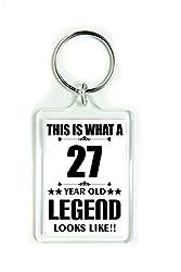 11039 Schlüsselanhänger aus Acryl, Aufschrift This is What a 27 Year Old Legend Looks Like Birthday