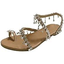 c41a6ba1053 Dragon868 Moda Mujer Abalorios Zapatos Fiesta Perlas Fondo Plano Sandalias