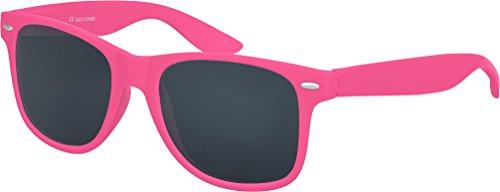 nenbrille Rubber im Wayfarer Stil Retro Vintage Unisex Brille mit Federscharnier - 96 verschiedene Farben/Modelle wählbar (Pink - Smoke) (Rosa Sonnenbrille)