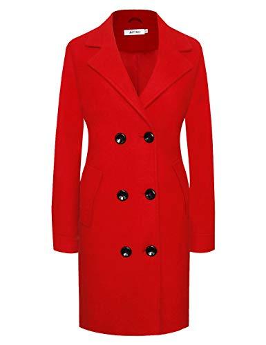 APTRO Damen Mäntel Lange Winter Wollmantel WS01 Rot L Rot Mantel