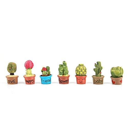Woyisisi Tiny Cactus Miniatura Piante Succulente Vaso Decorazione per Casa delle Bambole Mini Pianta