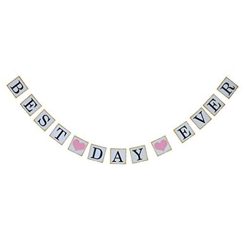 Best Day Ever Bunting Banner Zeichen Hochzeit Partei Baby Dusche Dekor Hängen