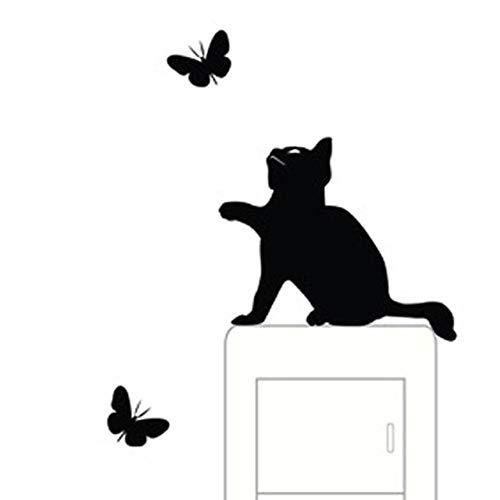 Diy Cute Black Cat Animls Switch Decal Room Window Wall Stickers Home Decals Bedroom Kids Room Light Parlor Decor Pvc Mural Art (Vans Für Cute Mädchen)