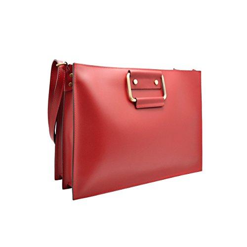 GERRY Sac cartable sac d'ordinateur bandoulière et poignées de cuir lisse, fabriqué en Italie rouge