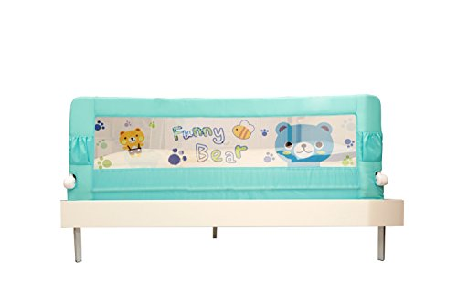 Kiddale Bedrail : Extra Long (6X2.2 Ft) Foldable Safety Guard To Protect Baby, With Push Button For Quick Folding- Baby And Kids Products-Blue