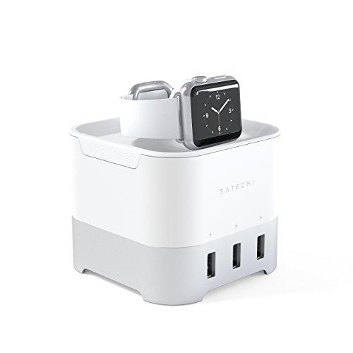 Satechi intelligente Ladestation–Fitbit Blaze Ladeanschluss Ladestation 2in 1Ladestation 4Port USB Handy-Halterung für Apple Watch 1, 2und 3, iPhone X, 8Plus (Silber)