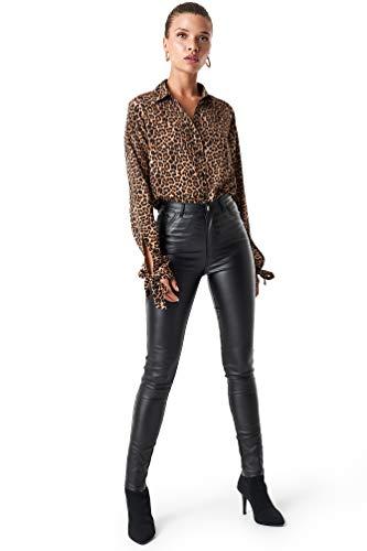 NA-KD Trend - Damen Wildlederhosen Waxed High Waist Hosen Schwarz