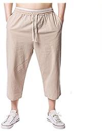 fd8e9359e0     Amlaiworld Leinen Strand Sommer 3/4 lang Hosen Mode Sport locker Pants  Band Herren Freizeithose Retro Gemütlich Elastische Taillen…