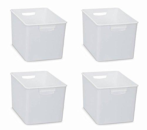 Aufbewahrungsbox Kunststoff (4 Stück XL Aufbewahrungsboxen aus Kunststoff mit zwei Griffen in WEISS (nicht transparent). Maße : 26 x 38 x 24 cm - super geeignet als Sammelbox für Regale, Schränke, u.v.m.)