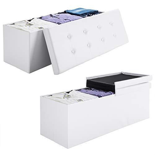 Deuba Faltbare Sitztruhe mit Stauraum | Weiß | Kunstleder | 80x40x40cm | 100 L | klappbar - Aufbewahrungsbox Sitzhocker