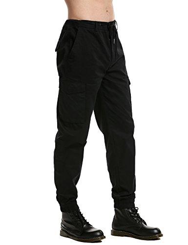 ZEARO Herren Chinohose Hose Freizeithose Jerseyhose 100% Baumwolle Schwarz