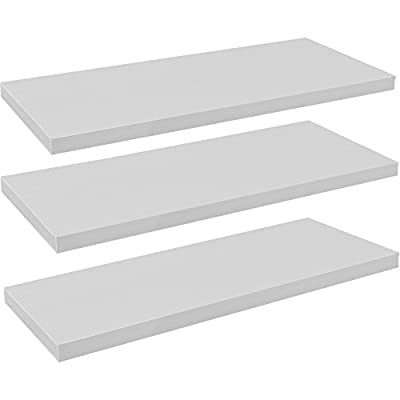 Harbour Housewares Pack of 3 Floating Wooden Wall Shelves 120cm - White - low-cost UK light shop.
