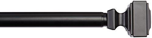 AmazonBasics - Gardinenstange, 2,54 cm, mit quadratische Endstücke, 182,88 cm bis 365,76 cm, Schwarz