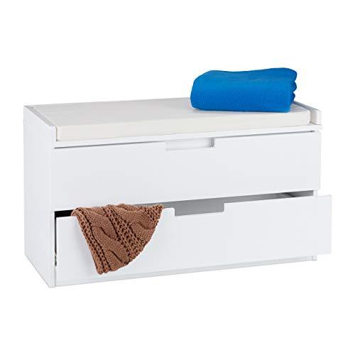 Relaxdays Sitzkommode, Garderobenbank mit 2 Schubladen, Landhausstil, Auflage zum Sitzen, HBT: 45 x 80 x 36 cm, weiß