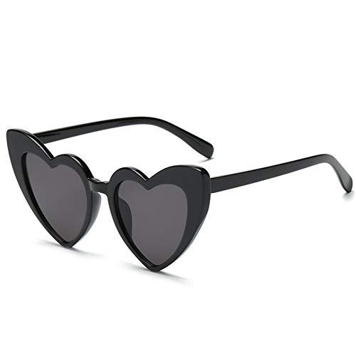 CCTYJ Sonnenbrillen Herzförmige Sonnenbrille Frauen Katzenauge Frauen Sonnenbrille Liebe Schwarz Rot Brillen Weiblich Übergröße Schatten