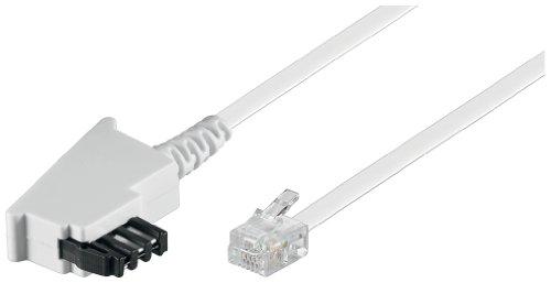 TAE Anschluß-Kabel (TAE-F Stecker auf Westernstecker), weiß, 6m (6 Meter Stecker)