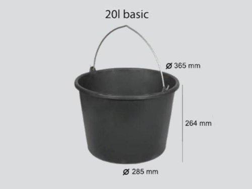 20 Liter Mörteleimer Eimer Kunststoff Literskala verzinkter Metallhenkel Kunststoffeimer