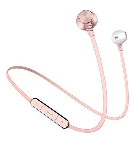 Langsdom L5 Auriculares Bluetooth IPX4 a Prueba de Sudor con micrófono Integrado Estilo Apple Auriculares Deportivos inalámbricos para Dispositivos iOS y Android (Oro Rosa)