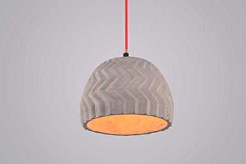 Pendelleuchte Varr II Beton Zement Grau Design Hängelampe Stoffkabel rot