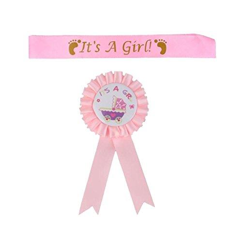 ädchen Satin Schärpe Für Baby Dusche Partei Pink+Rosa Es EIN Mädchen Abzeichen Rosette Baby Shower Party Zubehör Ist ()