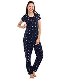 ZEYO Women's Cotton Navy Blue, Pink & Peach Feeding Night Suit,Sail Boat Print Nursing Night Dress
