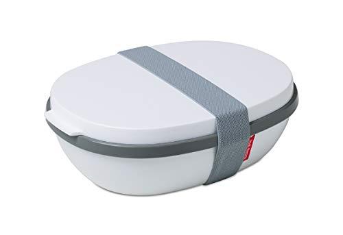 Rosti Mepal Caja de Almuerzo Ellipse Duo, Polipropileno y Polietileno téréphtalate 22,5x 17,5x 7,5cm, PP/TPE, Blanco, 22.5 x 17.5 x 7.5 cm
