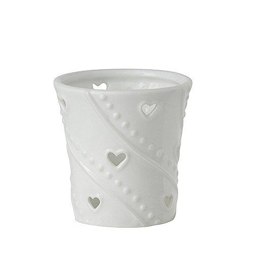 Yankee candle 1306077 White Hearts Porta sampler, Ceramica, Bianco, 6.5x6.2x7.6 cm