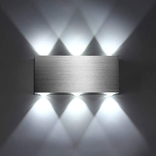 Lightess Apliques de Pared 6 LEDs Lámpara de Pared Luz Moderna de Puro Aluminio Luz Impermeable para Exterior y Interior para Decoración del Hogar, Dormitorio, Pasillo, Entrada (blanco frío, 6w)