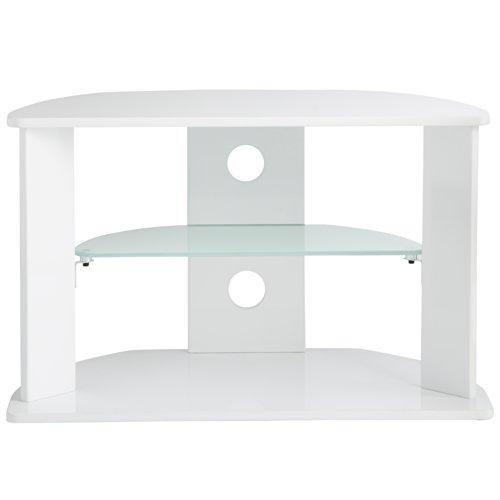 VonHaus Weiß Hochglanz TV Schrank Rack Möbel Stand Ständer Glas Regal mit gehärteter Glasablage für bis zu 37 Zoll - Fernseher (Basis Tv-schrank)