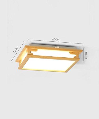 Kreative Hartholz einfache LED-Deckenleuchten im Parlament von Stil starten die Schlafzimmer der Empfang Aufenthaltsraum Deckenleuchten Deckenleuchten (zwei Dimmen) Laterne Lampen (Farbe: Elektrode weniger Dimmen-45 * 45 cm). (Stil-elektrode)