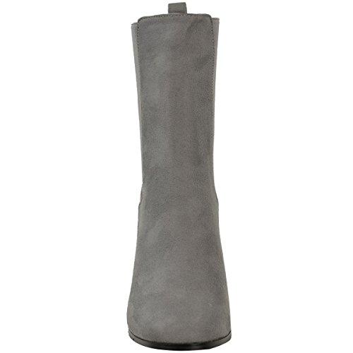 Donna Chelsea chunky tacco largo alto stivali caviglia elastico da infilare misura UK Grigio Finto Scamosciato