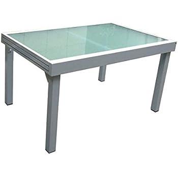 Amazon.de: Garten Ausziehtisch Garten Tisch Esstisch Glas Aluminium ...