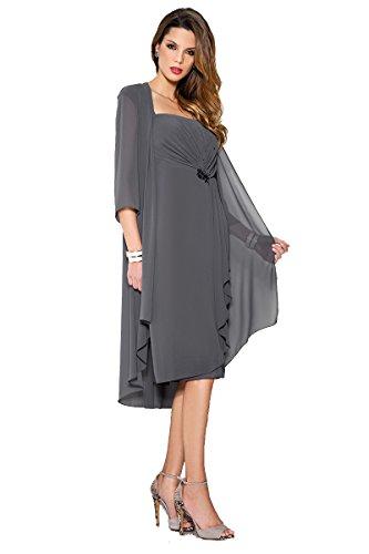 TIANSHIKEER Chiffon Mantel Mutter der Braut Kleid Lace Kurze Abendkleid mit Jacke (Chiffon Mantel Abendkleid)