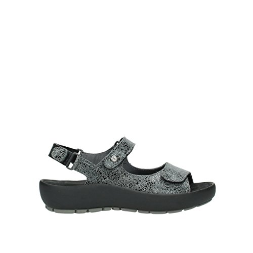 Wolky Womens 3325 Rio Leather Sandals 420 grey crash suede