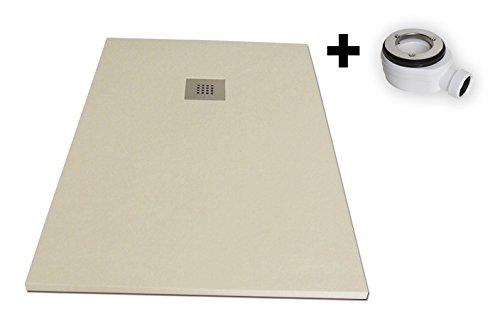 Plato ducha resina textura pizarra «Slate». 70x140cm. Beige Ral. 1015