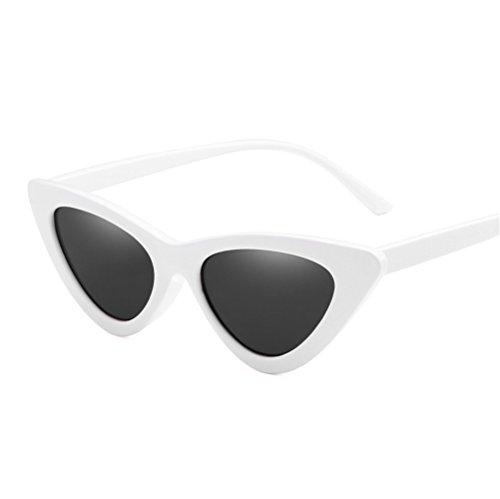 RFVBNM Sonnenbrille Auge Visor Sonnenbrille Mode Dreieck transparent männlich und weiblich UV-Beweis Sonnenbrille, weißes Gestell graue Linse
