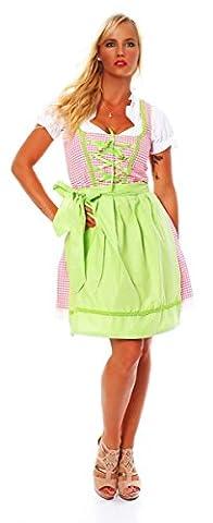 3 tlg Dirndl Set Kleid, Bluse und Dirndlschürze - Für fesche Madl (38, 10590 Weiss Rosa)