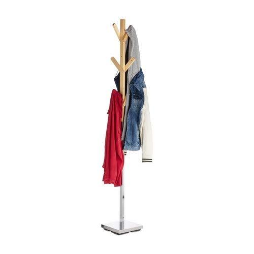 Relaxdays Garderobenständer, Flurgarderobe aus Holz u. Metall, Standgarderobe 6 Haken, HBT 180 x 26 x 26cm, Natur/Silber