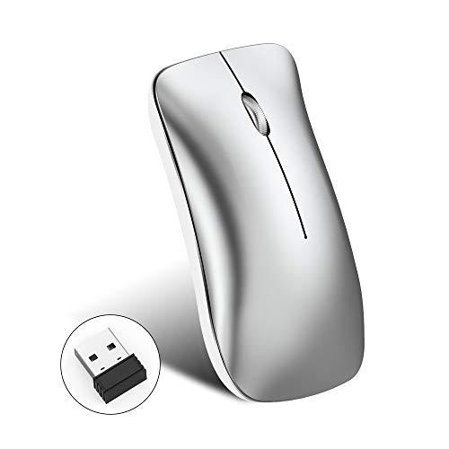 BESTSUGER Drahtlose Bluetooth Mice, 2.4G Portable Mobile Mouse Optical Mice mit USB-Receiver, für Windows 7/8/10/XP Vista Mac OS wiederaufladbar,Silver